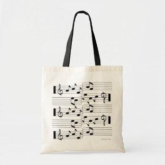 La música anota el blanco 2 del bolso de la hoja d bolsas de mano