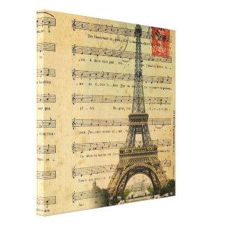 La música artística observa la torre Eiffel de Par Impresion En Lona
