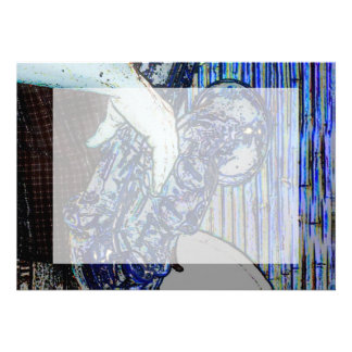 la música azul de los bordes del poster del saxofó anuncio