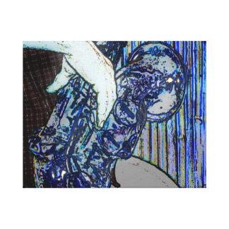 la música azul de los bordes del poster del saxofó lona envuelta para galerías