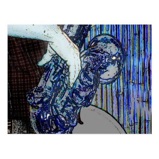 la música azul de los bordes del poster del tarjetas postales
