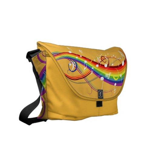 La música blanca del arco iris observa la bolsa de bolsas de mensajería