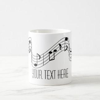 La música blanca negra simple observa nombre de taza de café