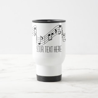 La música blanca negra simple observa nombre de taza de viaje