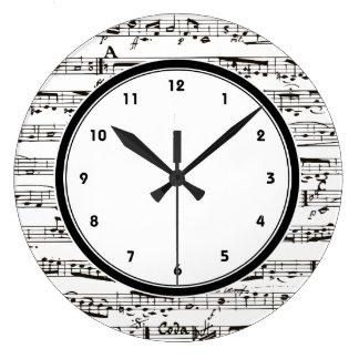 La música blanco y negro observa el reloj con núme