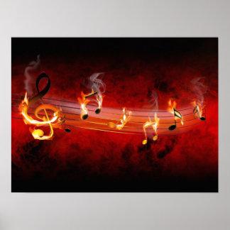 La música caliente observa el poster