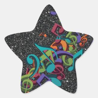 la música colorida observa efecto del brillo del pegatina en forma de estrella