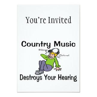 """La música country destruye su audiencia invitación 5"""" x 7"""""""