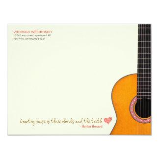 """La """"música country es las tarjetas de nota de tres invitación 4.25"""" x 5.5"""""""