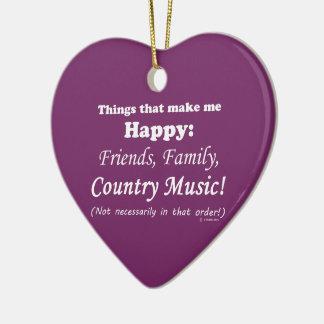 La música country me hace feliz adorno navideño de cerámica en forma de corazón