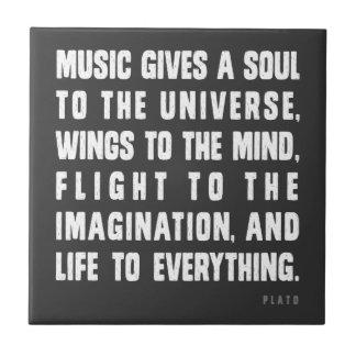 La música da un alma al universo azulejo cuadrado pequeño