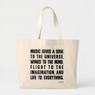 La música da un alma al universo bolsa de tela grande