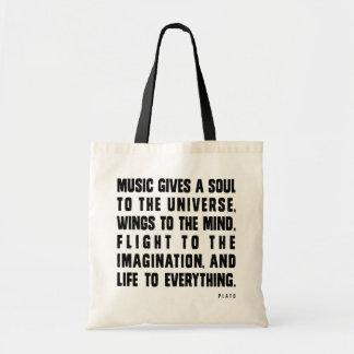 La música da un alma al universo bolsa tela barata