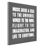 La música da un alma al universo lona estirada galerías