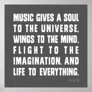 La música da un alma al universo póster
