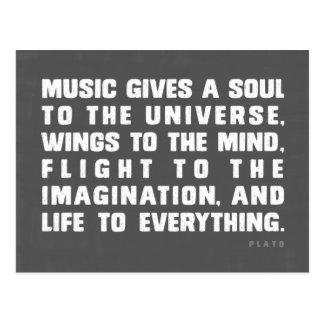 La música da un alma al universo tarjeta postal