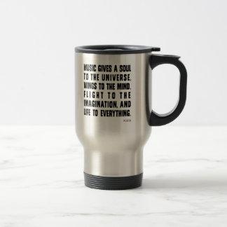 La música da un alma al universo taza de café