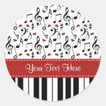 La música de encargo del piano observa a los pegat etiquetas redondas