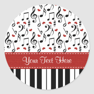 La música de encargo del piano observa a los pegatina redonda