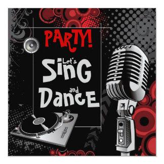La música de karaoke enrrollada canta a la fiesta invitación 13,3 cm x 13,3cm
