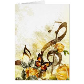 La música de la mariposa observa la tarjeta de