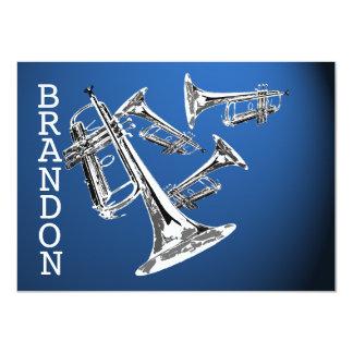 La música de la trompeta azul marino le agradece invitación 11,4 x 15,8 cm