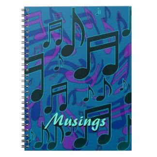 La música de las reflexiones observa libro de apuntes