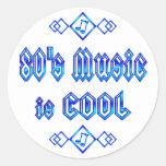 la música de los años 80 es fresca pegatina redonda
