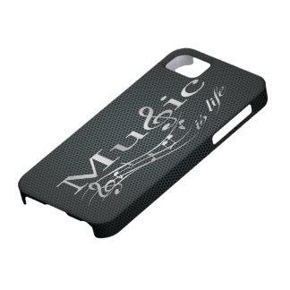 La música de plata es vida con la malla metálica iPhone 5 Case-Mate protector