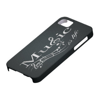 La música de plata es vida con la malla metálica iPhone 5 carcasa