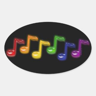 La música del arco iris observa a los pegatinas pegatinas ovales