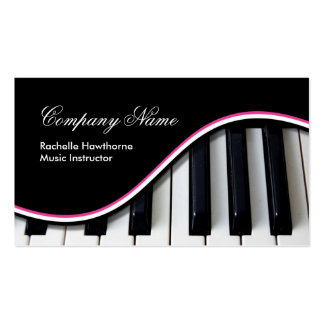 La música del piano cierra rosa del ~ de las tarje tarjeta de visita