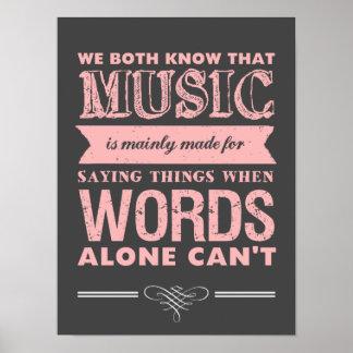 La música del poster del diseño de la tipografía