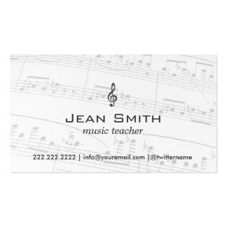 La música del profesor de música observa elegante tarjetas de visita