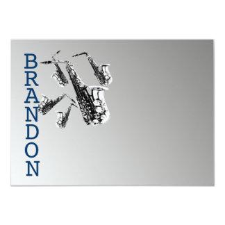 """La música del saxofón le agradece tarjeta plana invitación 4.5"""" x 6.25"""""""