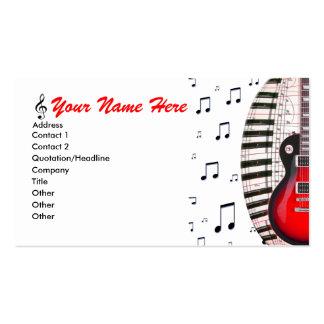 La música del teclado de piano de la guitarra tarjetas de visita