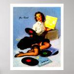 La música del vintage registra el Pin encima del c Posters