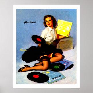 La música del vintage registra el Pin encima del c Póster