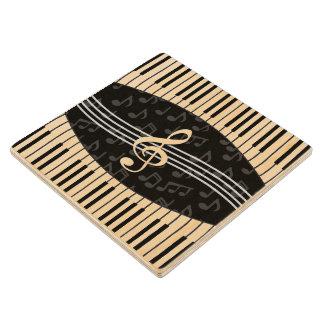 La música elegante observa llaves del Clef agudo y Posavasos De Madera