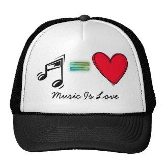 La música es amor gorros bordados