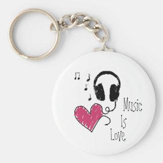 La música es amor llavero personalizado
