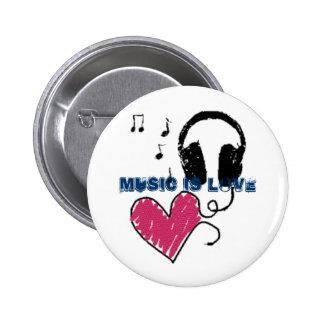La música es amor pin redondo de 2 pulgadas