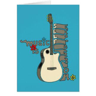La música es guitarra de la expresión del uno tarjeta de felicitación
