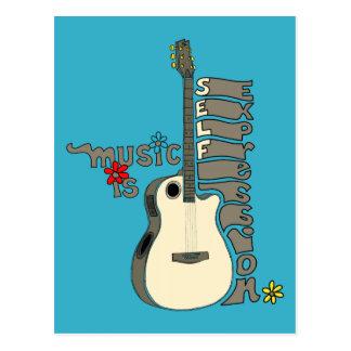 La música es guitarra de la expresión del uno tarjetas postales