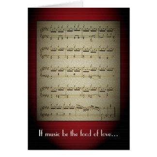 La música es la comida de la tarjeta de felicitaci
