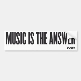 La música es la respuesta pegatina para auto