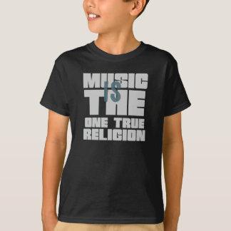 La música es la una religión verdadera remera