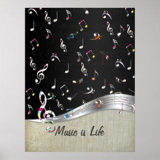 """La """"música es las notas coloridas frescas impresio póster"""