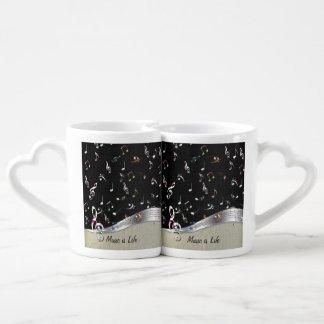 """La """"música es las notas coloridas frescas impresio set de tazas de café"""
