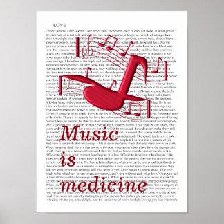 La música es medicina - impresión del arte póster